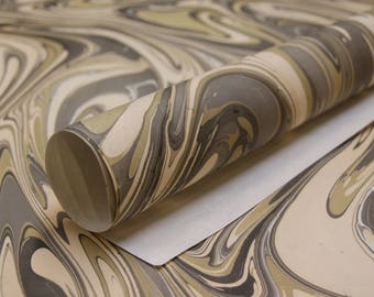 Grey Cream Marble print on cream handmade Wrapping Paper gift wrap set of two large sheets