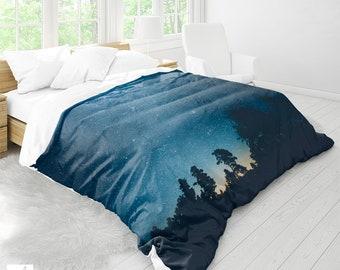 Starry Forest Duvet Cover, Wanderlust Bed Linen, Forest And Stars, Wanderlust Duvet, Bohemian Bedding, Nature Duvet, Dorm Decor Bedding