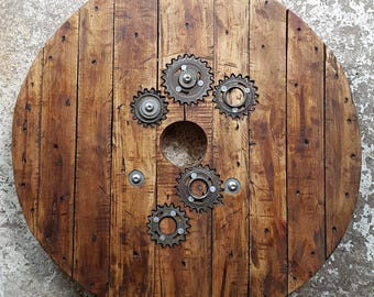 Cogs and Gears Cable reel table with hairpin legs. Industrial style Steampunk. Coffee / Side / End table