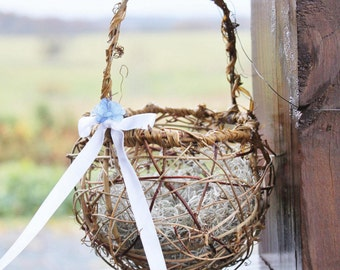 Handmade Grapevine Flower Girl Basket, Rustic Flowergirl Basket, Country Basket, Wedding Basket