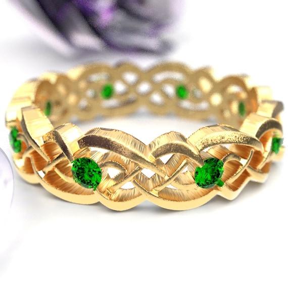 Gold Celtic Wedding Ring With Emeralds, Infinity Band, Eternity Diamond Ring in 10K 14K 18K Palladium or Platinum, Custom Size 1044