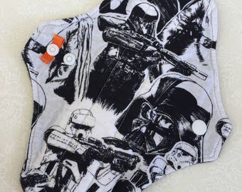 """8"""" Medium Absorbency Cotton Top Cloth Pad/Mama Cloth/Rumps: Incontinence Care in Star Wars Print with Black Micro Fleece Backing"""
