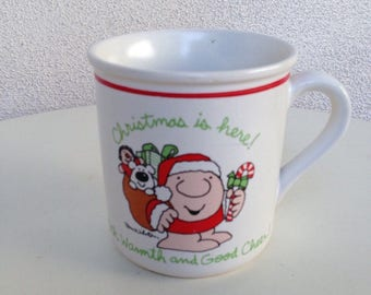 Sale Vintage stoneware mug Ziggy Christmas is here with warmth and good cheer