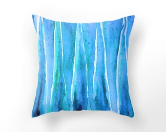 DECORATIVE THROW PILLOW, aqua blue pillow case, watercolor throw pillow, sea aquarelle pillow, sea blue cushion cover, triangle shape pillow