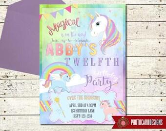 UNICORN Birthday Invitation, Unicorn Birthday, Unicorn Party Printable, Unicorn, Rainbow, Magic, Birthday Invitation, Digital, invite, Party
