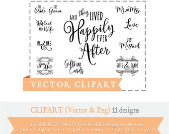 11 Wedding Sayings- Clip art -And They Lived Happily Ever After, Just Married, Save the Date, Mr. and Mrs. Gifts & Cards, Love, Bride, Groom