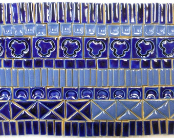 185+  Mosaic Tiles Handmade Ceramic Art Tiles Stoneware Crafting Tiles  Dark Blue Tones Glazed Craft Tile Assortment #2
