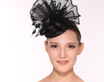 Kentucky Derby Feather Floral Sinamay Headband Fascinator Hat Black