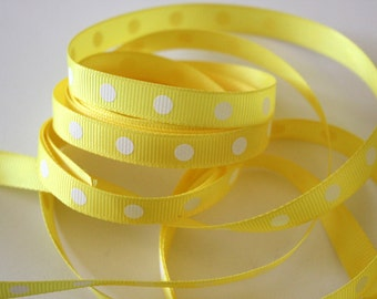"3/8"" Dotted Grosgrain Ribbon - Yellow - 5 yds"