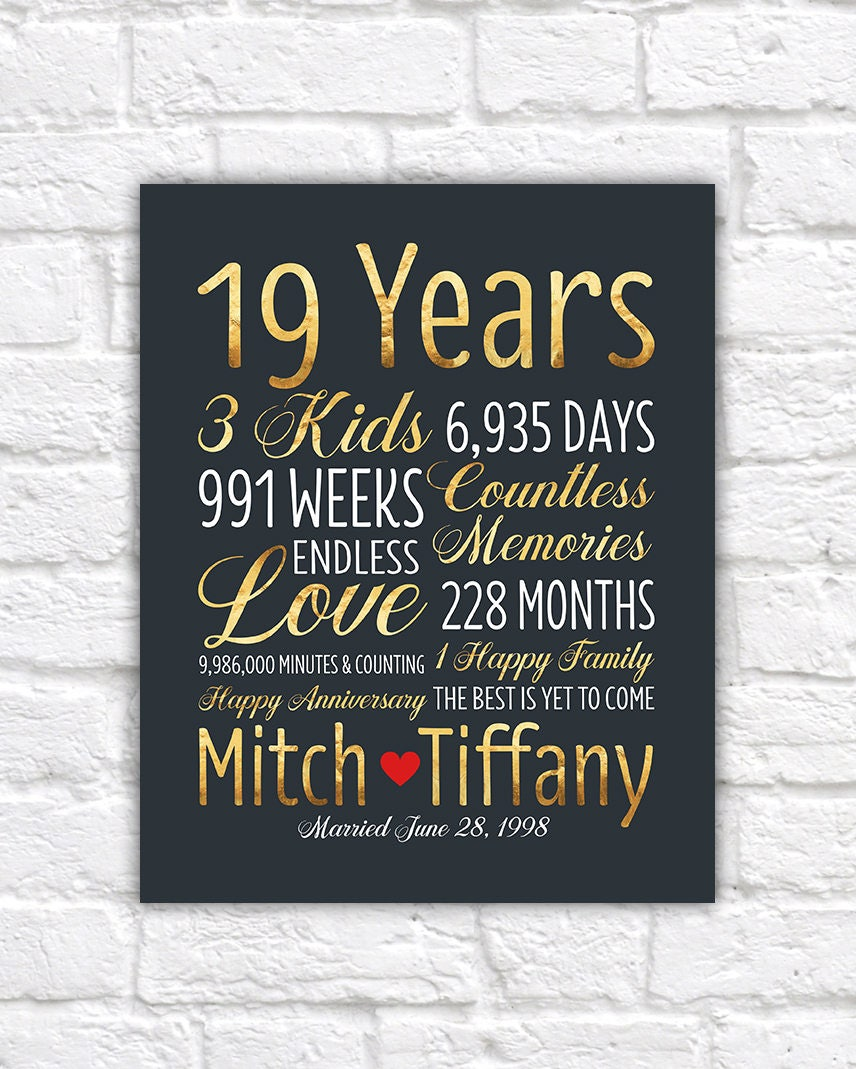 Anniversary Gifts By Years Married: Personalized Wedding Anniversary Gift, 19th Anniversary