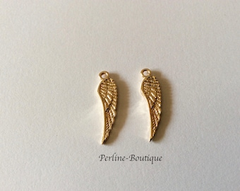 2 wings 24 * 6MM gold plated charms