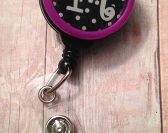 Initial badge reel -- black and white polka dot -- wear your first or last initial and favorite color while wearing your badge