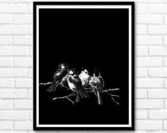 Birds Print, Wall Decor, Black and White Prints, Animals, Printable Art, Nature Decor, Prints, Wall Decor INSTANT DOWNLOAD - 1069