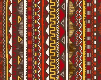 Fabric red and yellow, Maya Mexican, Aztec, stripes, 1/2 meter