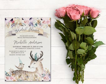 Bridal Shower Invitation, Deer Invitation, Woodland Invitation, Boho Bridal Shower Invitation, Baby Shower Invitation, Birthday Party, Boho