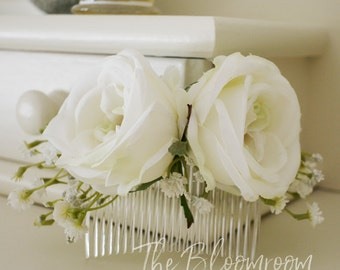 Bridal hair comb, Silk flower comb, Wedding hair accessories, Wedding hair comb, Wedding hairpiece, Gift for Bridesmaid, Flower comb, Celia