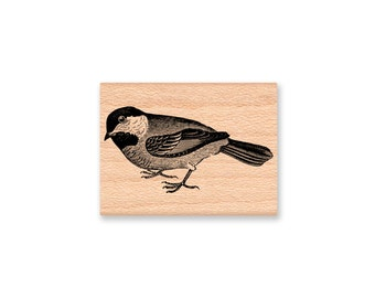 LITTLE CHICKADEE Rubber Stamp~Black Capped Chickadee~North American Bird~Crafting and Card Making Supplies~Mountainside Crafts (34-27)
