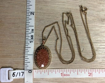 """Vintage 18"""" Gold Toned Goldstone Necklace Used"""