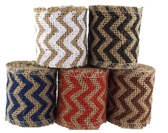 "CLEARANCE - 2.5"" Natural Burlap Ribbon with Chevron Print for Craft 2 yds"