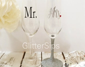 Mr and Mrs Set - Champagne Flutes - His and Hers - Wedding Gift - Bridal Shower Gift - Engagement Gift - I do - Champagne Glasses