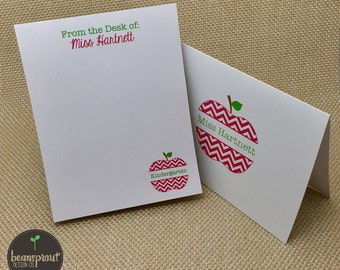 Personalized Teacher Stationery - Teacher Gift - Teacher Notepad and Notecards - Chevron Apple - Custom Stationery - Teacher Appreciation