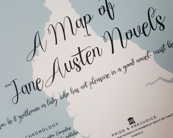Map of Jane Austen Novels - Pride and Prejudice - Home Decor - Book Map Print - Wall Art  Giclee Print - Literary Map Poster - Bookworm Gift