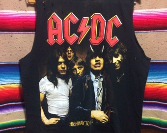 AC/DC Highway to Hell Raw Edged Distressed Shredded Tee