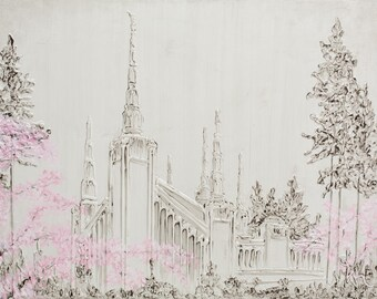 Portland LDS Temple Painting | Giclee Canvas print | Fine Art Reproduction on Canvas| LDS Temple Wall art