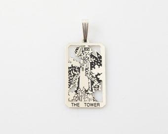 XVI Tower Tarot Pendant in Sterling Silver