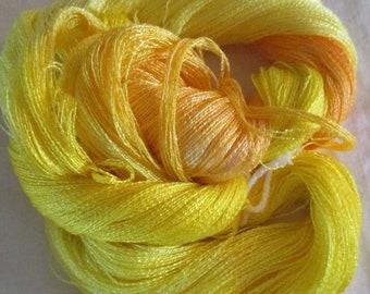 Hand dyed Tencel Yarn - 900 yds. Lace Wt. Tencel Yarn  BANANA BOAT