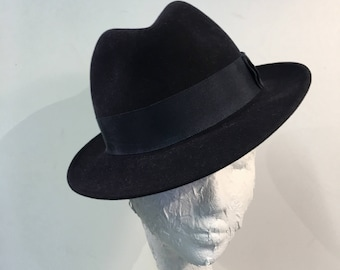 Dark navy suede trilby hat