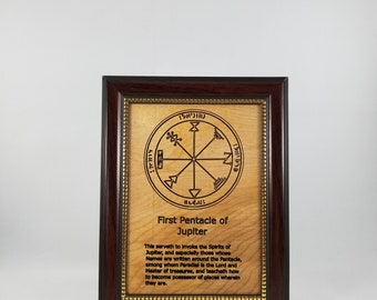 Fifth Pentacle of Jupiter.  This laser engraved wood plaque is framed. Size is 5 x 7 inches.