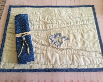 embroidered and quilted placemats with napkins