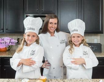 Long Sleeve Chef Coat Chest Pocket Child's Size, Personalized Chef Jacket, Child's Chef Jacket, Chef Jacket