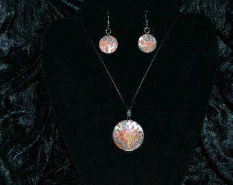 Embossed and Stained Metal Disc Necklace & Earrings