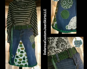 DELAROSA Hippie Turtle Jean Skirt with handmade leather reversible belt Custom Order to Your Size 0 2 4 6 8 10 12 14 16 18 20 22 24 26