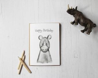 Happy Birthday Rhino greeting card - Birthday card - Rhino - Children's Birthday - Safari - Zoo - Animal Cards