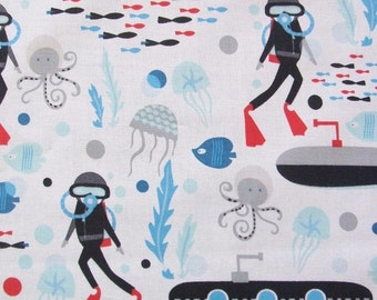 Come Dive with Me Scuba Diver Submarine Octopus Ocean Sea Windham Fabric Yard