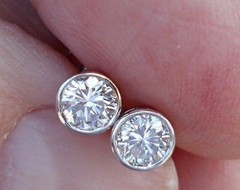 0.50 Carat 14K White Gold Extra Thin Bezel Diamond Stud Earrings