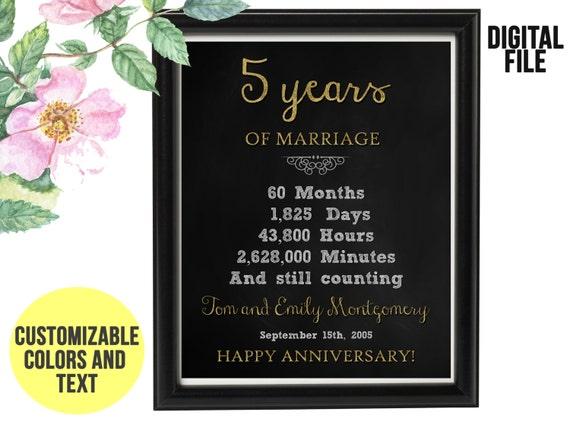 5 Yr Wedding Anniversary Gift: 5 Year Wedding Anniversary Gift 5th Anniversary PRINTABLE