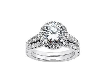 6.5mm  Forever Brilliant Moissanite Solid 14K White Gold Diamond Engagement  Ring set - ENS2045