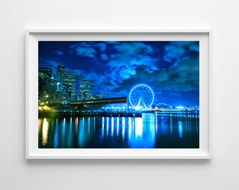 Seattle Art Great Wheel Waterfront View - Seattle Skyline Night Cityscape, Blue Wall Art, Blue Home Decor - Large Wall Art Prints Available