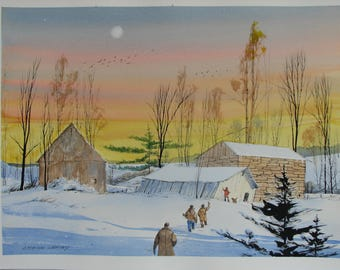 Hunting watercolor painting, Winter landscape artwork, hunters, outdoorsmen, rustic barn, stone barn, sunset art, #135
