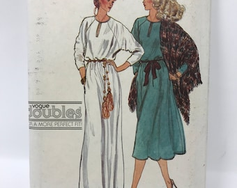 Vogue 7199 vintage pattern 1970s / size F (16-18) bust 38 - 40 misses dress and shawl / retro 1970 pattern / vogue doubles