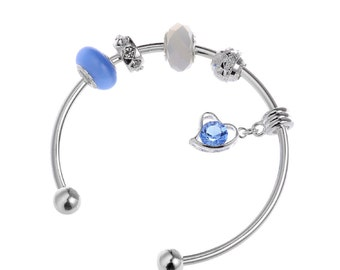 RUBYCA Silver Bangle Bracelet with Charm Beads Crystal Heart 8 Inch Cuff Bracelet Silver Women Silver Bracelet Gift Box for Charm Bracelet