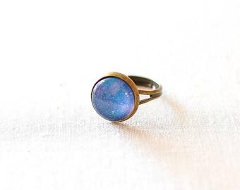 Moucheté bleu galaxie bague. Univers bijoux. Bijoux de galaxie.