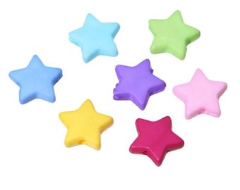 25 star-shaped acrylic beads