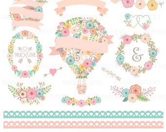 "Flower balloon clipart: ""Floral Balloon Clipart"" with floral wreaths clipart, lace border clipart, ribbons, 16 images, 300 dpi, PNG files"