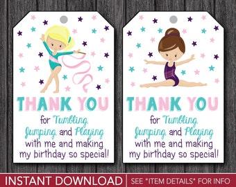 Gymnastics Favor Tags | Gymnastics Birthday Party Favor Tags | Printable Digital File | INSTANT DOWNLOAD