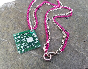 """Hot Pink Reclaimed Circuit Board Necklace, Nerdy Jewelry, Recycled Computer Parts, Fuchsia Neon Pink and Silver Tone Double Chain 18"""""""